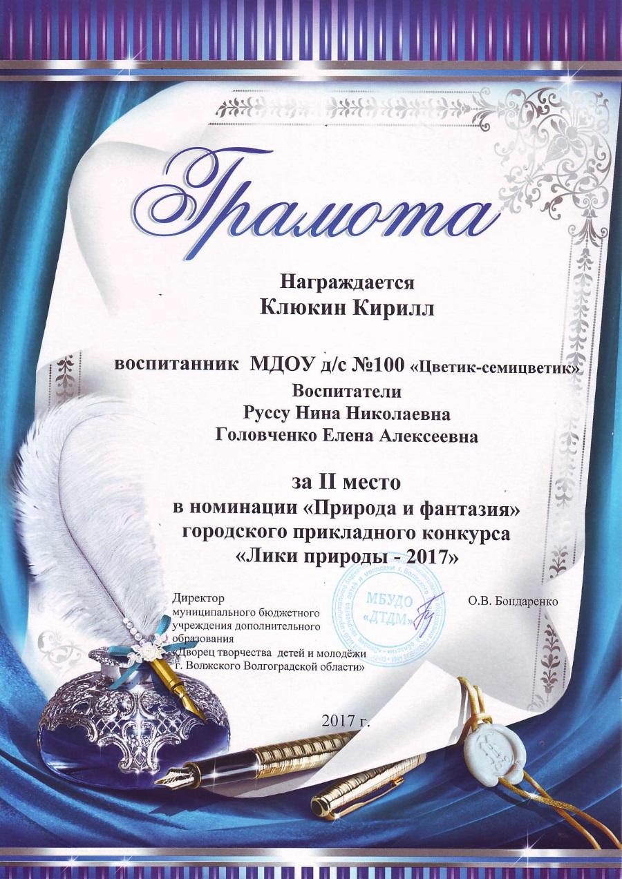 Клюкин  Кирилл 2 место
