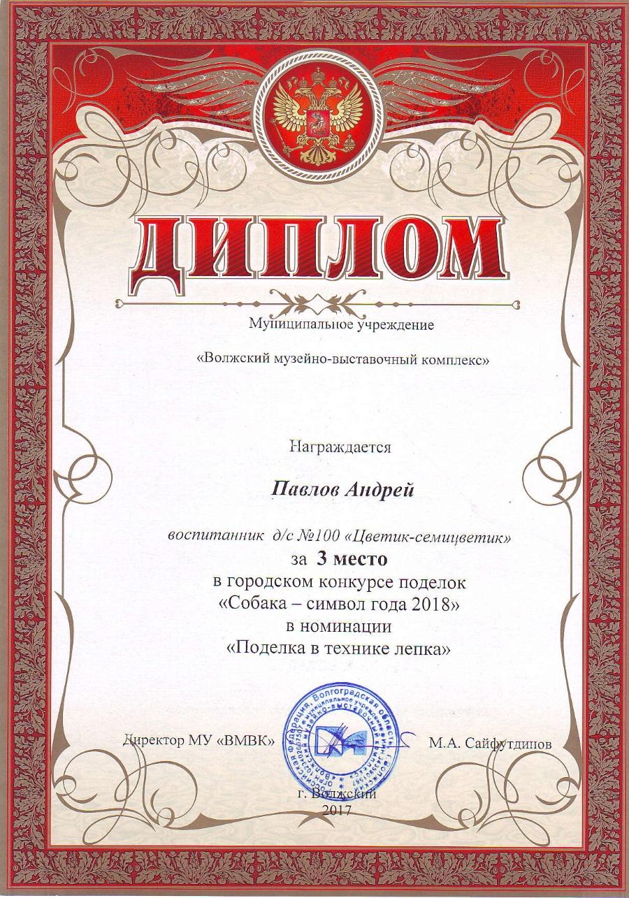 Павлов Андрей 3 место